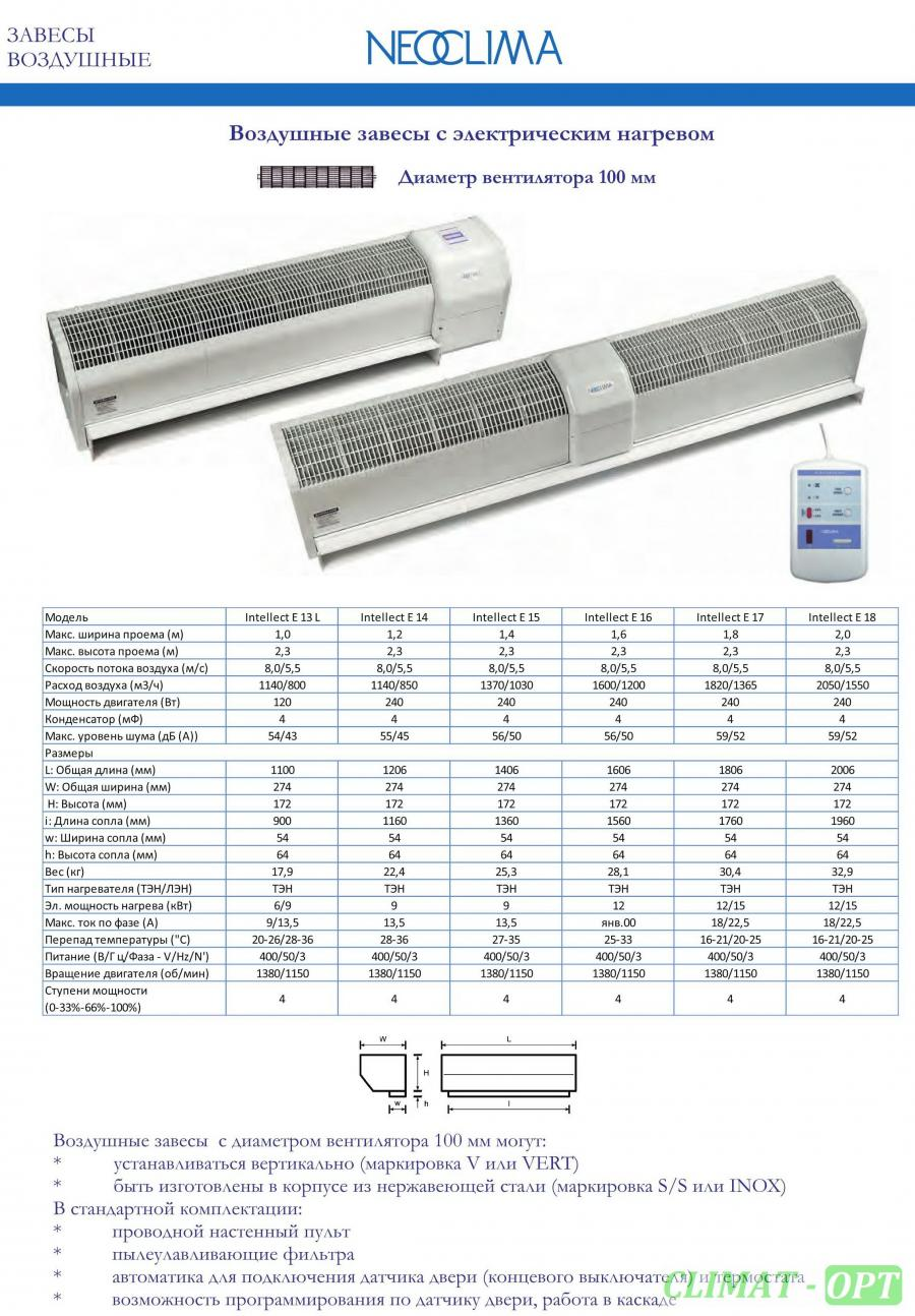 Тепловая завеса с электрическим нагревом Neoclima Intellect E IOB