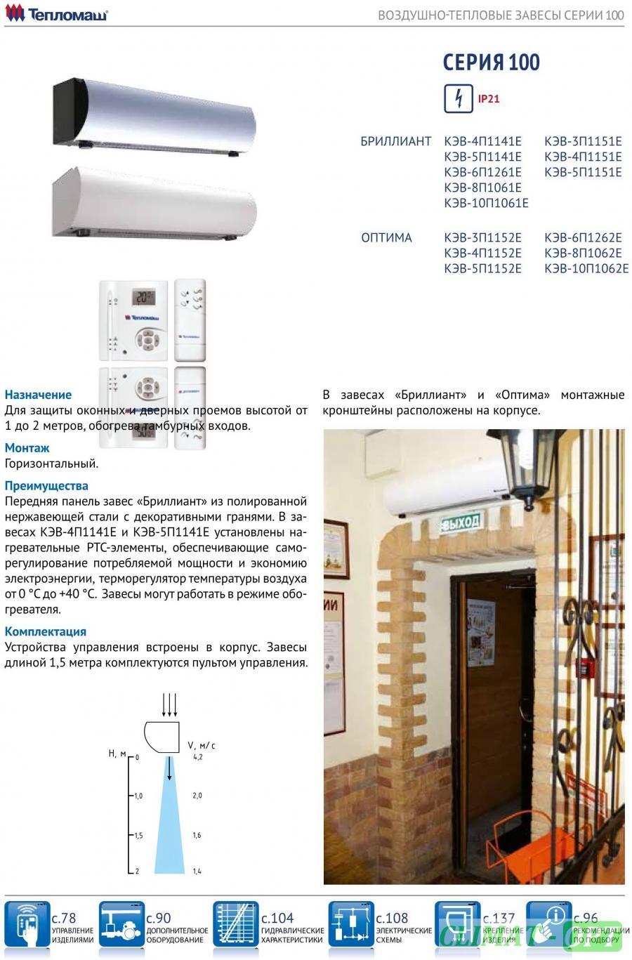 Тепловая завеса Тепломаш КЭВ_П1 с электрическим нагревом серии 100