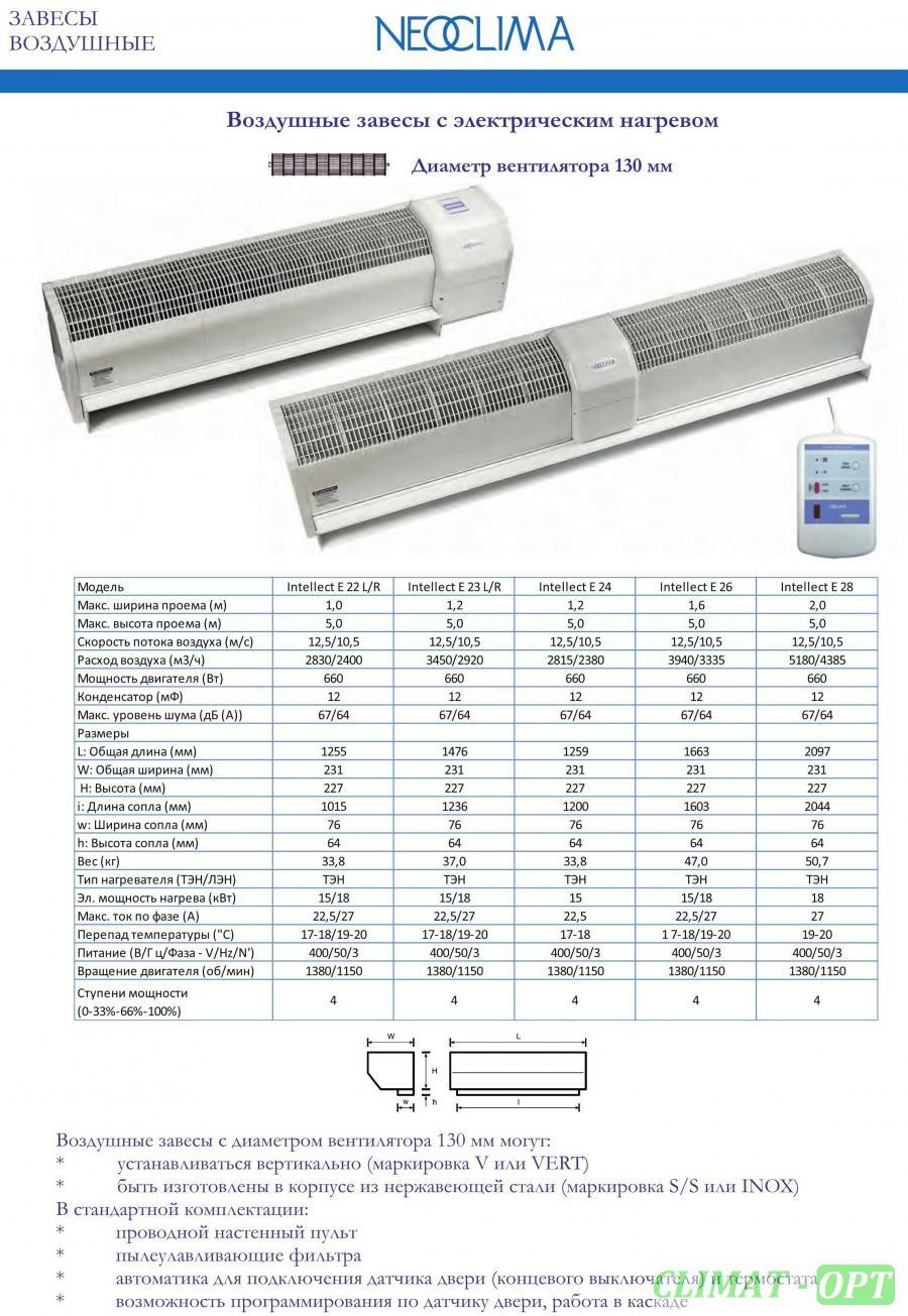 Тепловая завеса Neoclima Intellect E L/R IOB (электрический нагрев)