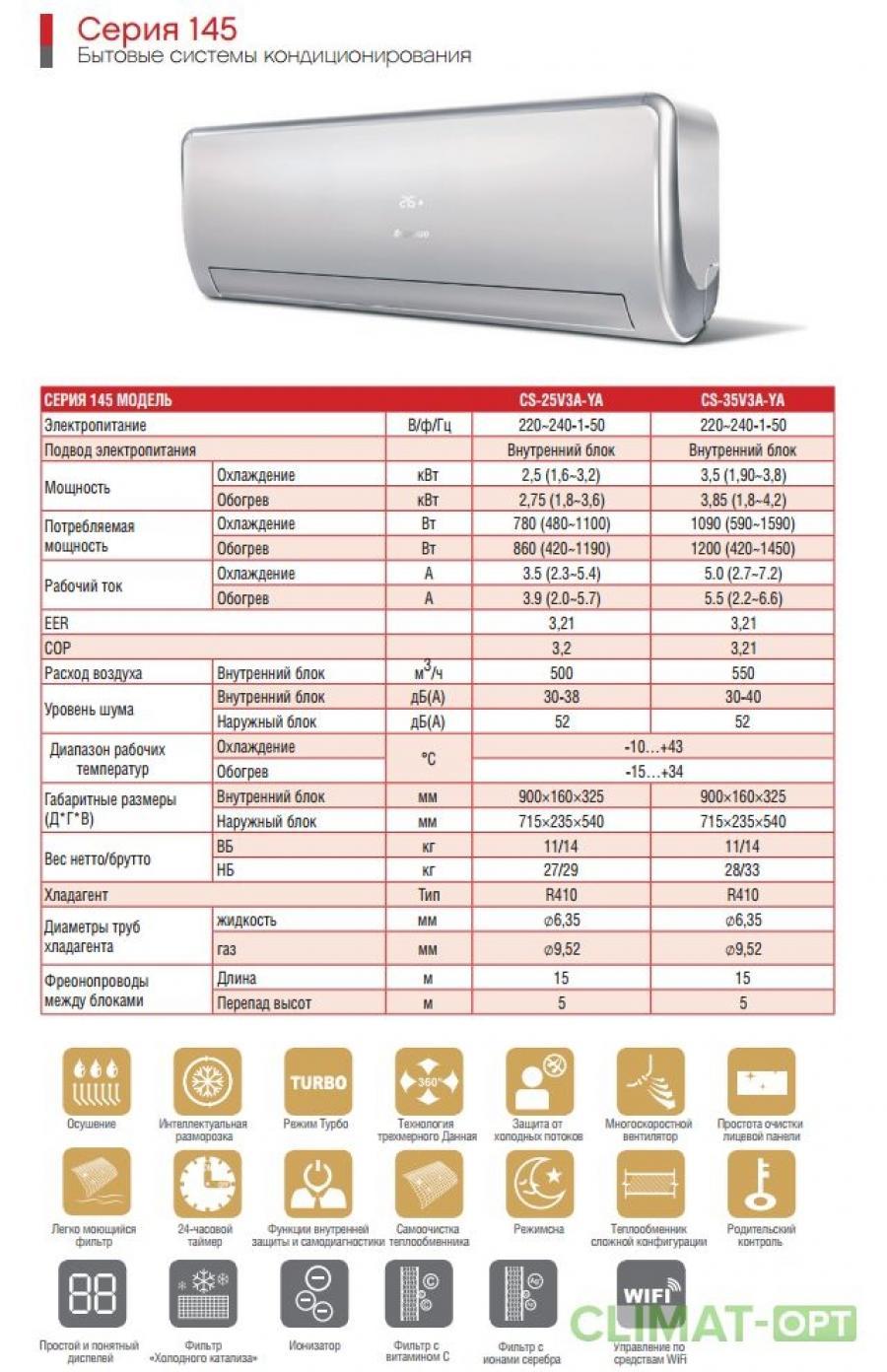 Кондиционер с внутренним блоком настенного типа Chigo GALACTICA Серия 145 WIFI Inverter (Звоните, Скидки!)