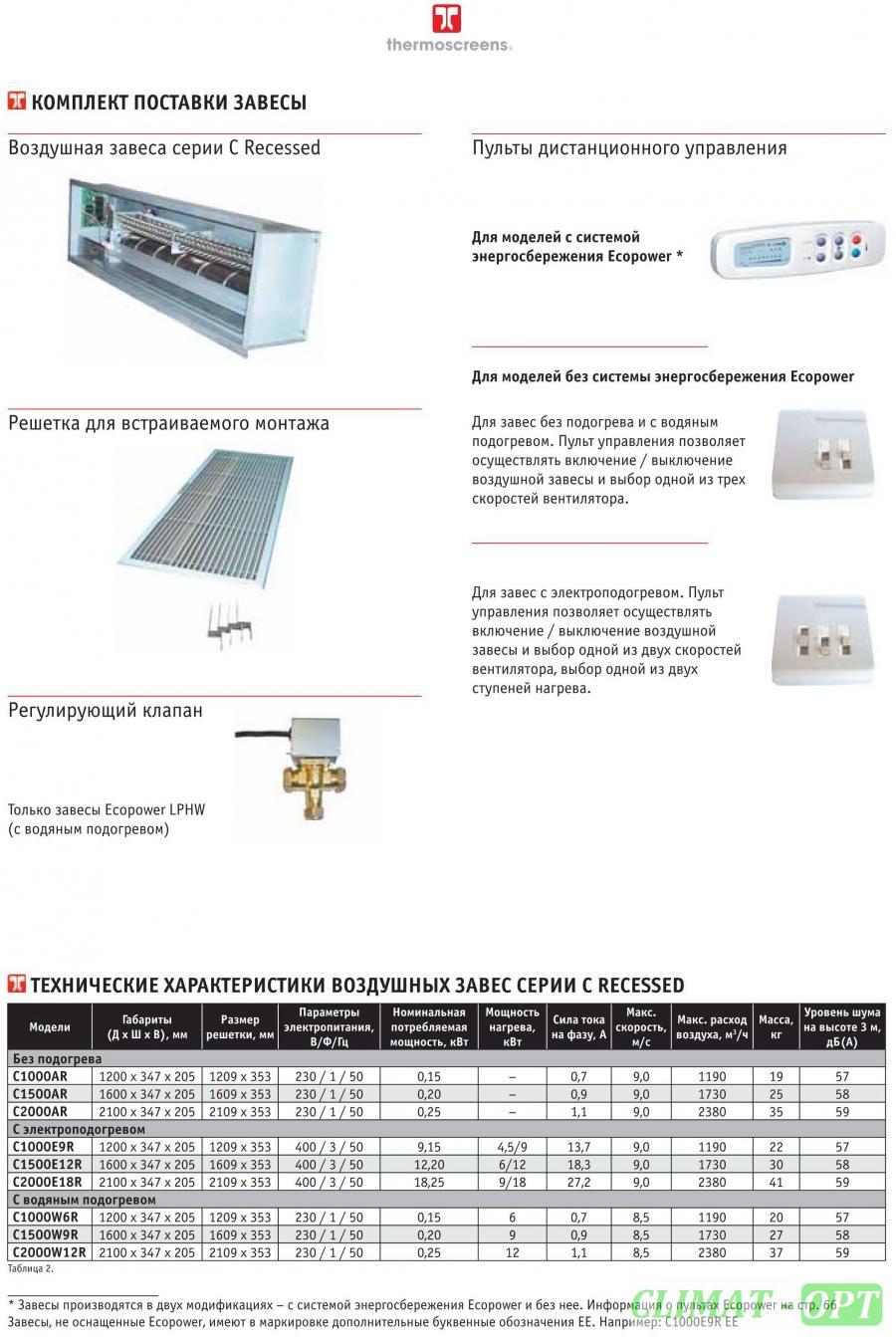Тепловая завеса Thermoscreens серия C AR встраиваемого типа без подогрева