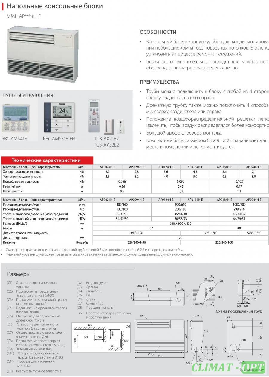 Внутренние блоки Напольного типа Toshiba VRF в корпусе MML-AP 4H-E