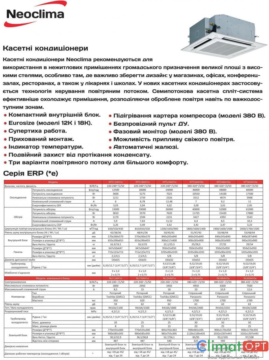 Кондиционер кассетного типа Neoclima NTSI_AH1e Inverter New 2017