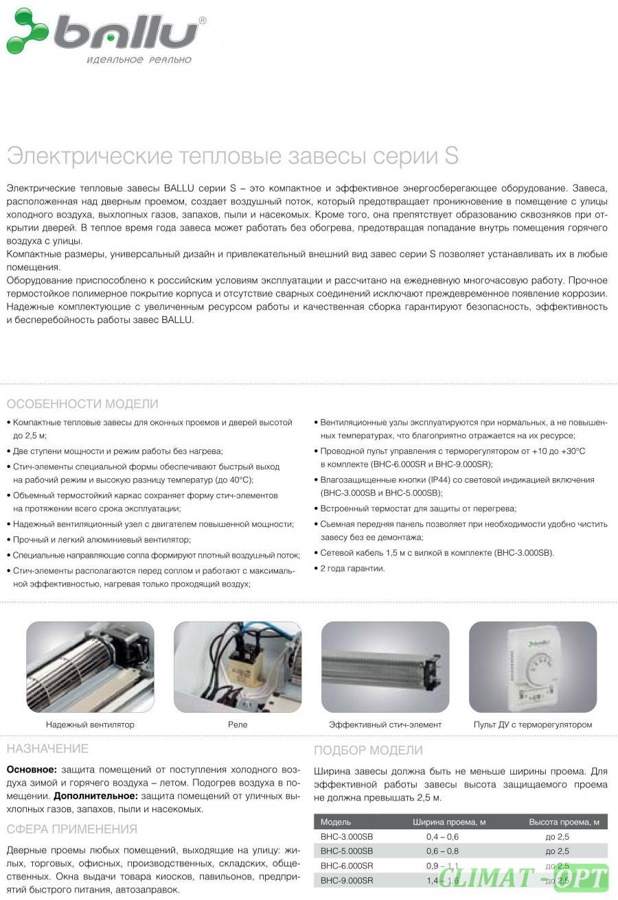 Тепловая завеса с электрическим нагревом Ballu Серия SB