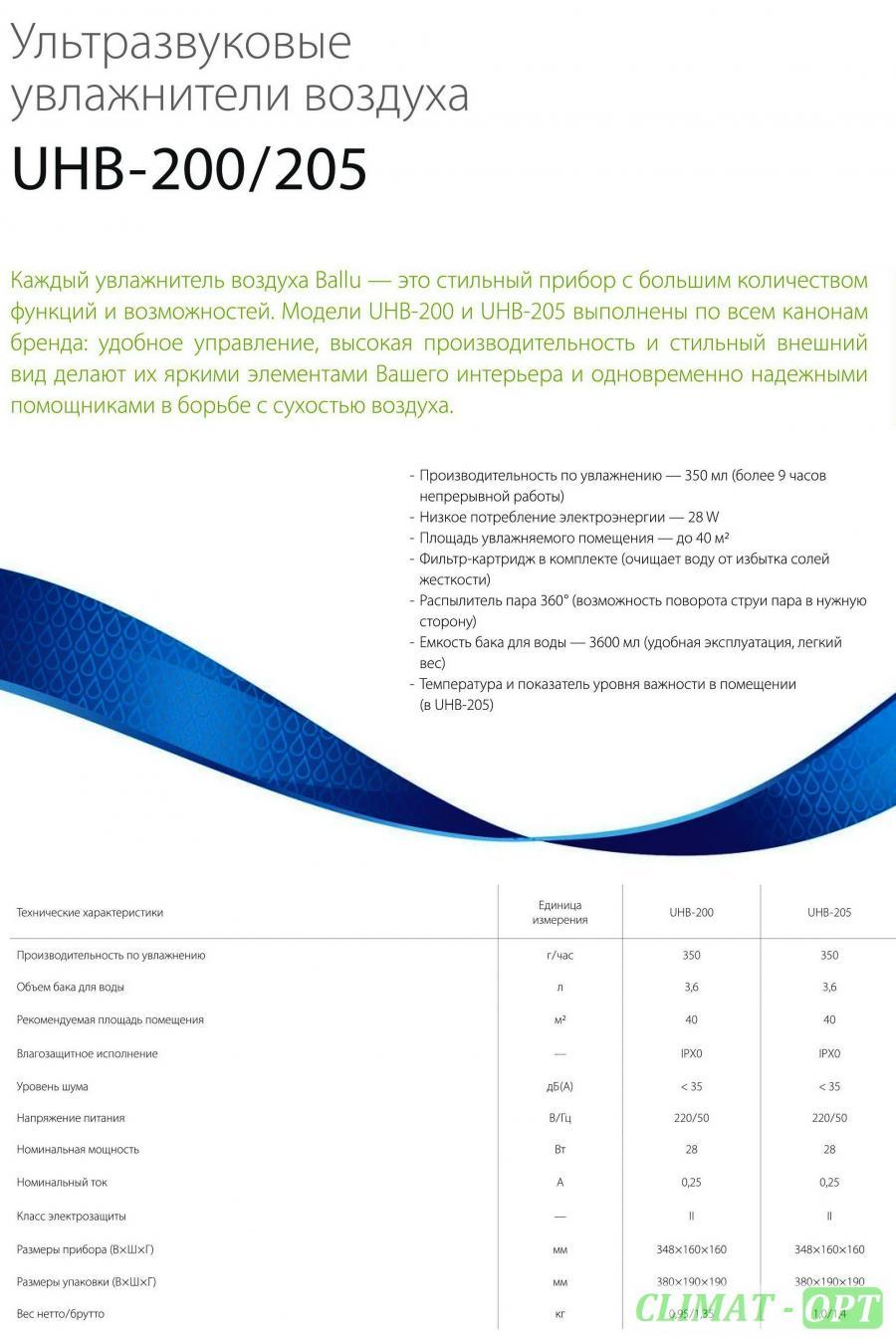 Ультразвуковые увлажнители Ballu UHB-205