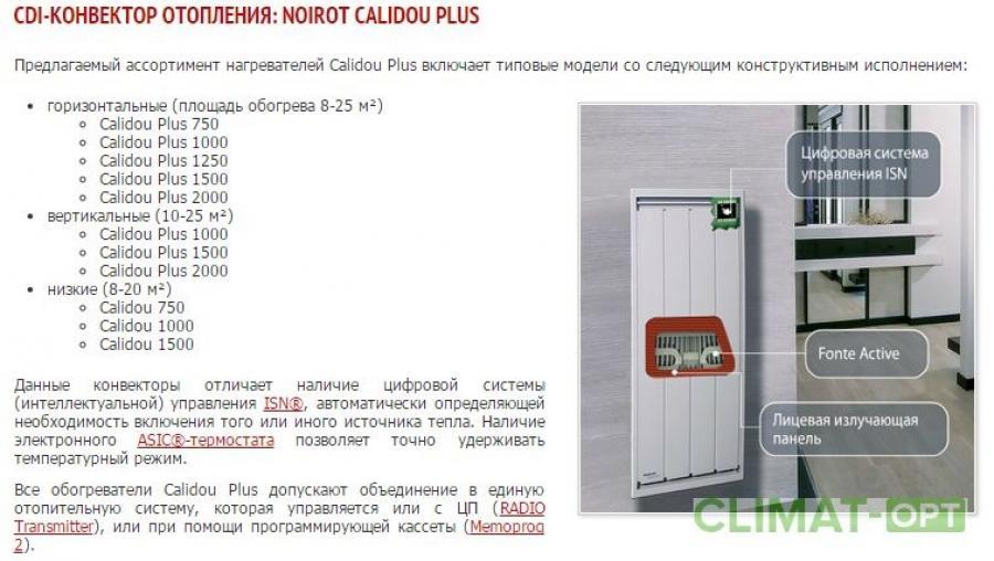 Электрические конвекторы Noirot Calidou Вертикальные