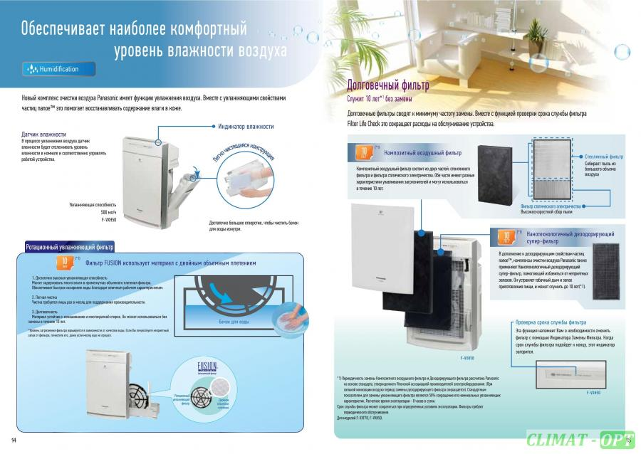 Увлажняющий воздухоочиститель Panasonic F-VXH50