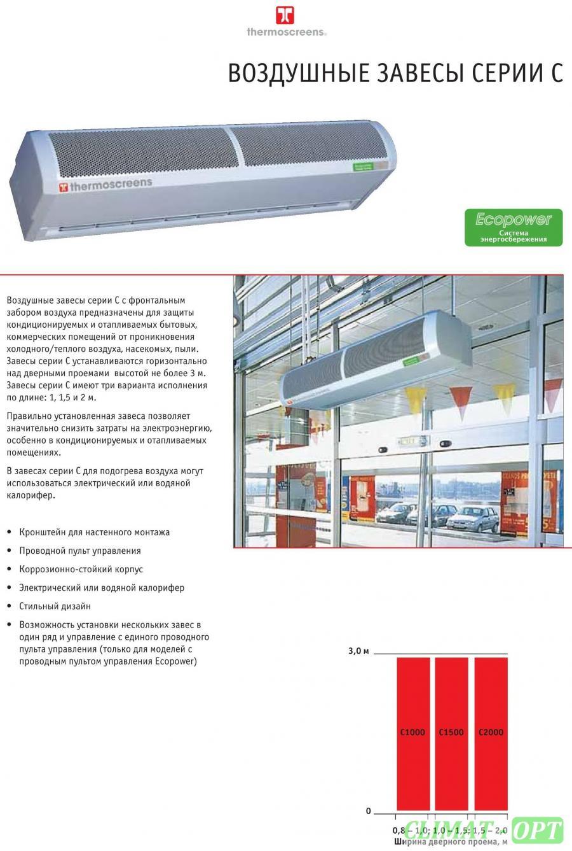 Воздушная завеса Thermoscreens серияCNT без подогрева (монтажная высота максимум 3.0 м)