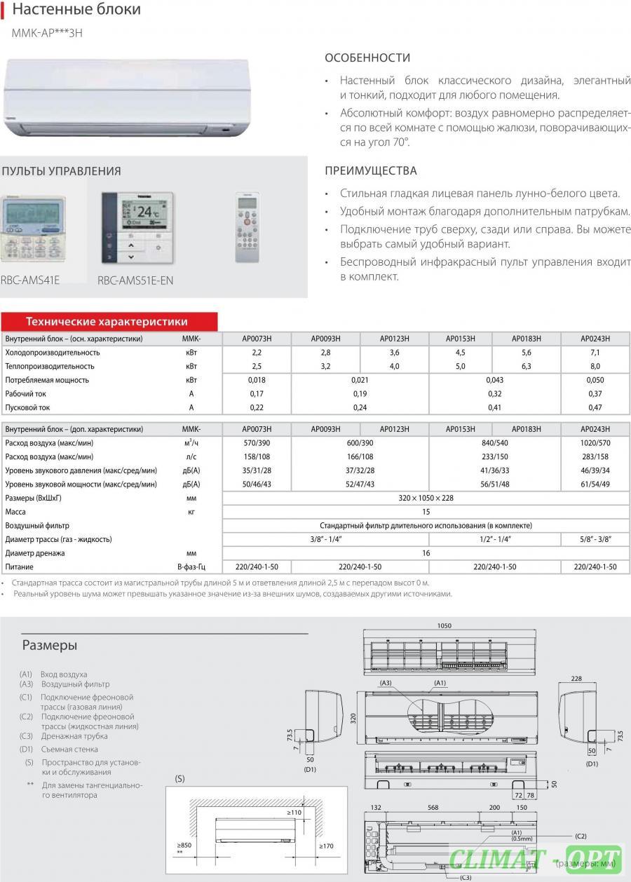 Внутренние блоки Настенного типа Toshiba VRF MMK-AP 3H