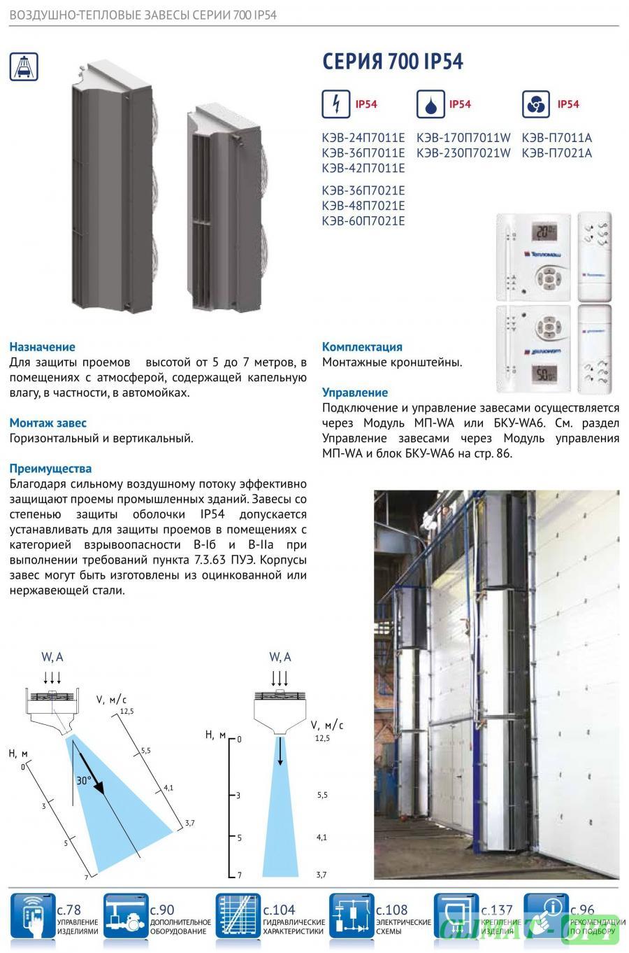 Тепловая завеса Тепломаш серии 700 для автомоек IP54 с электрическим нагревом