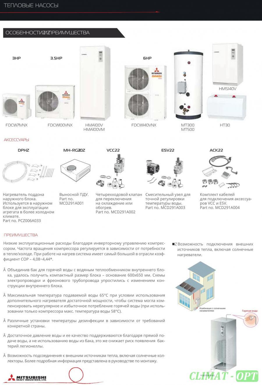 Тепловые насосы Воздух-Вода Mitsubishi Heavy HT
