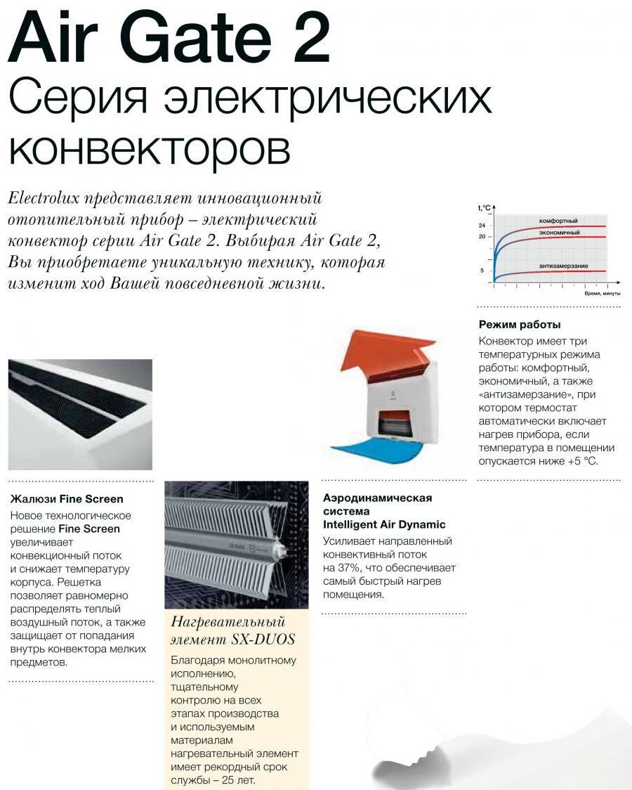 Электрические конвекторы Electrolux AIR GATE 2 ECH/AG2-EF