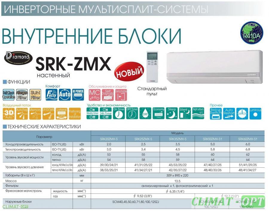 Мульти-сплит Настенного типа Mitsubishi Heavy Industries SRK ZMX-S Inverter