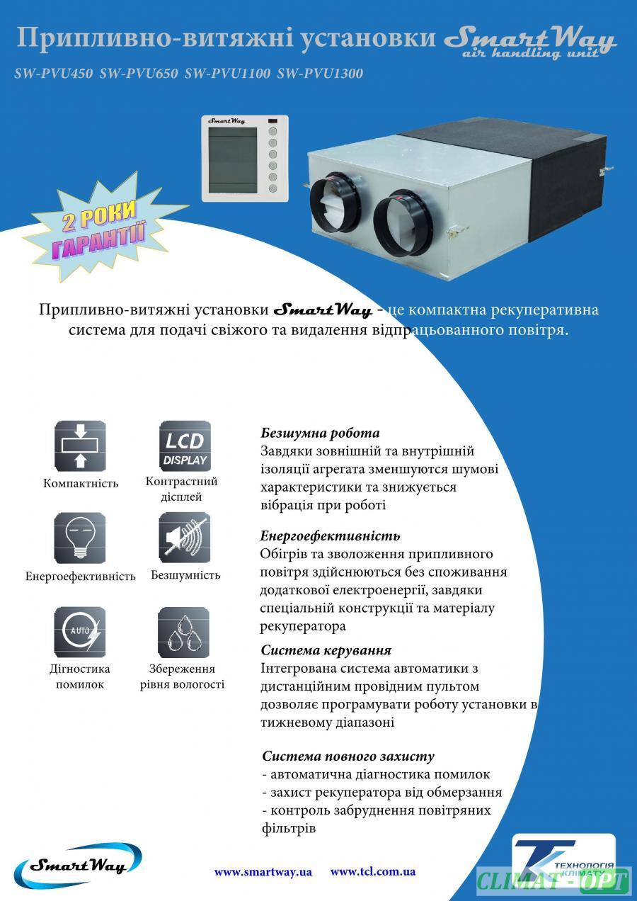 Приточно-вытяжные установки с рекуперацией тепла SmartWay  SW_PVU