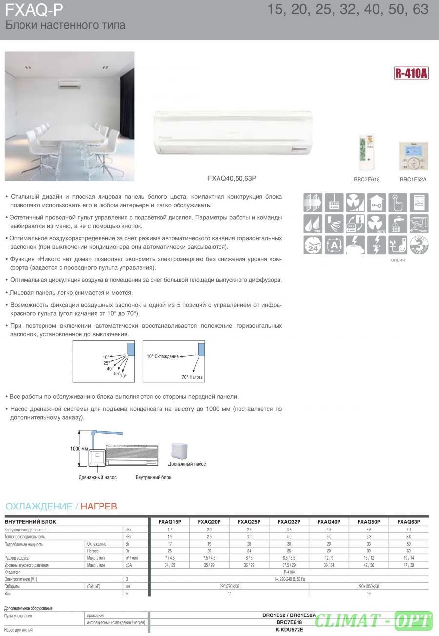 Мультизональная система настенного типа Daikin VRV FXAQ - P