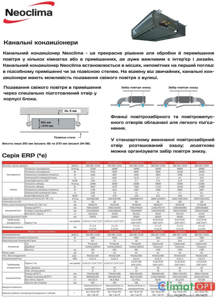 Кондиционеры канального типа Neoclima NDS_AH1me