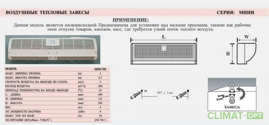 Тепловая завеса с электрическим нагревом Olefini MINI
