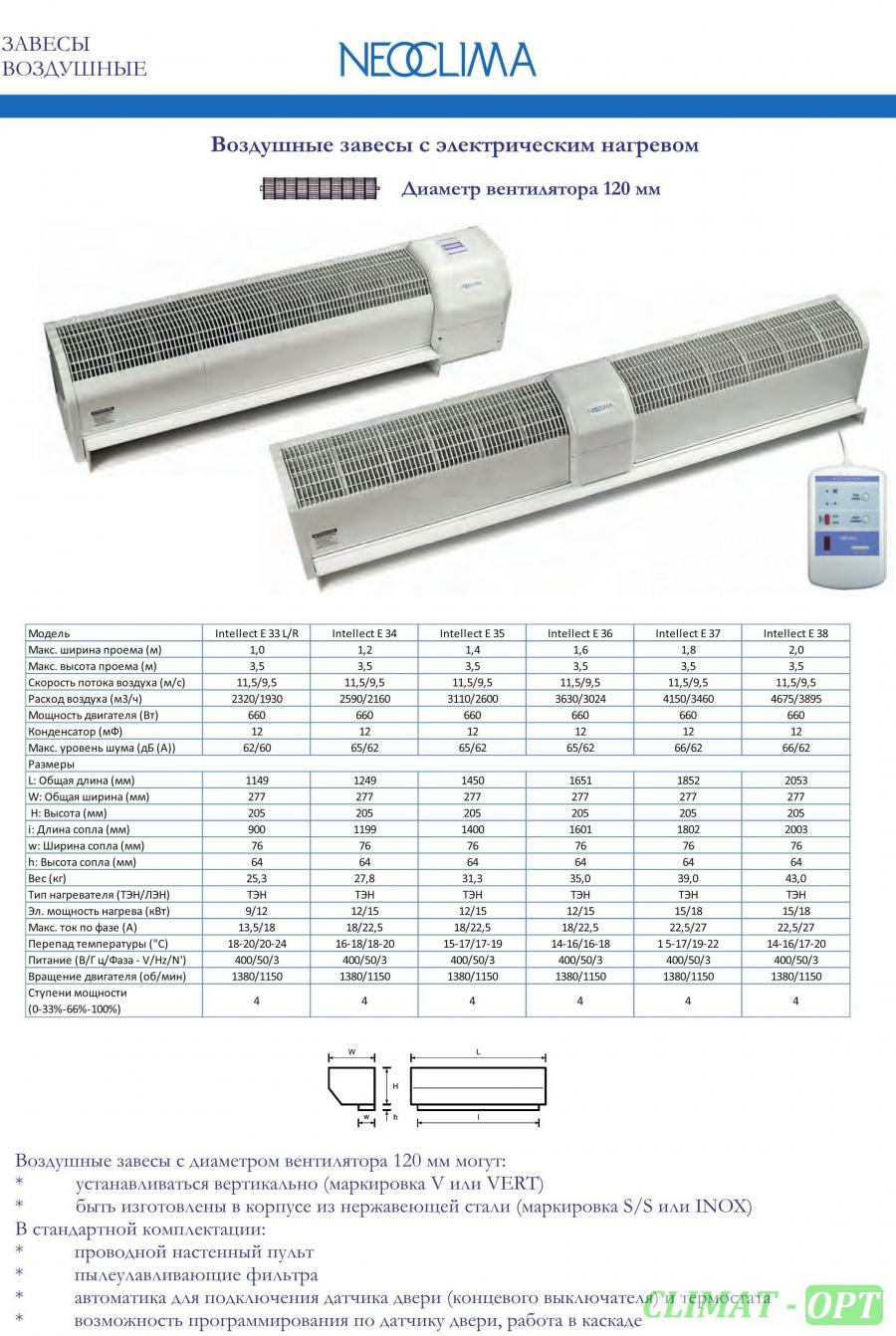 Тепловая завеса с электрическим нагревом Neoclima Intellect E L/R IOB